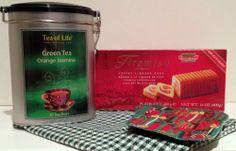 Tea Lover's Delight: Tea of Life Orange Jasmine Tea, Tiramisu Liqueur Cake, Tea Towel, & 4 Handcrafted Christmas Coasters Cottage Treasures,.