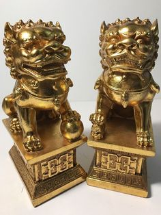 New SET 2 Golden Chinese Guardian Lions Shishi FOO DOGS Statue Figurine's NWOB #eBayDanna