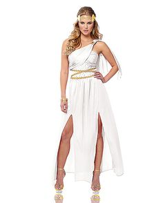 One of my favorites: Athena costume - loving the one shoulder dress, the two slits on legs. - Top Greek Goddess Costumes for Women - Fancy Costume Madness Godess Costume, Roman Goddess Costume, Greek God Costume, Goddess Halloween Costume, White Halloween Costumes, Egyptian Costume, White Costumes, Spirit Halloween, Halloween Ideas