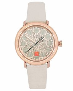 The Frank Lloyd Wright S.C. Johnson Ladies Watch Rose Gold is inspired by the ceiling pattern of the S.C. Johnson building, (Racine, Wisconsin, 1944).
