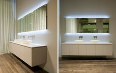 design antonio lupi de miroir éclairant forme rectangulaire, salle de bain couleur lin