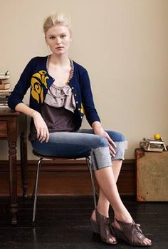 Cardigan and Capris Outfit: Love the color combo. Originally from Anthropologie