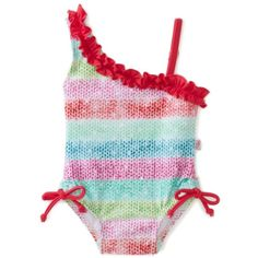 Floatimini Baby-Girls Infant Rainbow One Shoulder Swimwear ❤ liked on Polyvore