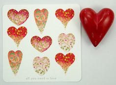 love hearts square card set Valentine wedding by atticEditions.etsy.com