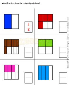 Select Fraction Representing Shaded Part Worksheet Money Worksheets, Fractions Worksheets, 1st Grade Worksheets, Math Fractions, Preschool Art Activities, Fraction Activities, Second Grade Math, 4th Grade Math, Grade 2