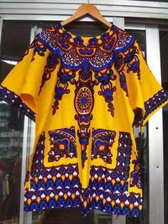 New fashion design african traditional print cotton Dashiki T-shirt for unisex. African Attire For Men, African Men, African Fashion, African Style, Jeans And Sneakers, Dashiki, Clothing Items, Traditional Outfits, Printed Cotton