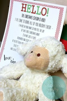 If you're tired of that elf leaving his shelf and causing trouble in your house and want a more Christ-centered approach to Christmas fun, bring home the Little Lamb from Bethlehem instead! Christmas Night, Christmas Is Coming, A Christmas Story, First Christmas, Christmas Cards, Christmas Stuff, Christmas Activities, Christmas Crafts For Kids, Christmas Traditions