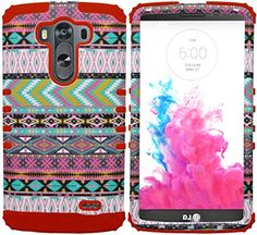 myLife Rose Red + Savanna Colors {Wild Aztec Design} Dual Layered 3 Piece Case for the LG G3 Smartphone (2 Piece Outer Rubberized Snap On Protector Shell + Internal Silicone SECURE-Grip Bumper Gel) myLife Brand Products http://www.amazon.com/dp/B00OHZU1Q2/ref=cm_sw_r_pi_dp_rtauub1KKWN1A