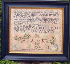Elizabeth Foster 1822 Quaker Reproduction Sampler counted X-stitch pattern