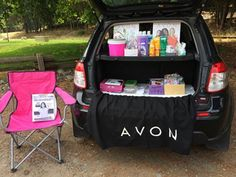 I would love to have a shelf in the back of my van to be able to do this! Avon Sales, Mobile Boutique, Avon Online, Spring Makeup, Avon Representative, Craft Business, Direct Sales, Along The Way, Mary Kay