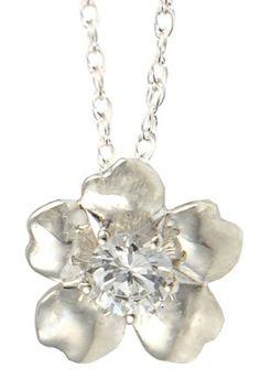 Sterling Silver Crystal Sakura Necklace