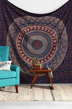 Blue Hippy Hippie Wall Hanging Elephant Mandala by Labhanshi