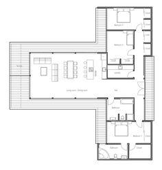 24 Ideas container house floorplan open floor for Modern Contemporary House Plan with three bedrooms and . Container Home Designs, Container House Plans, The Plan, How To Plan, Modern House Floor Plans, Modern House Design, Modern Houses, House Plans One Story, Story House