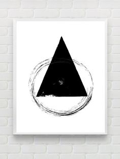 Printable Geometric Art Print Instant Download Distressed Style Triangle Wall Art Minimalist Black and White Printable Prints and Poster Art