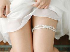 Silver nautical garter, sailors knot garter, sailor knot wedding garter, silver garter belt - style #544
