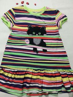 """Купить Платье для девочки из хлопка """"Котенок"""" - в полоску, кулирка, комбинированный, яркое, прохладное, кулирка с лайкрой"""