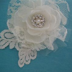 Ivory Lace and Tulle Rose Hair Clip C306 small by HARTfeltart, $35.00