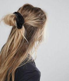 Scrunchie half up hairstyle