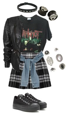 """grunge rock ♥"" by kitten-poker ❤ liked on Polyvore featuring Alice + Olivia, River Island, Hot Topic, Topshop and Converse"