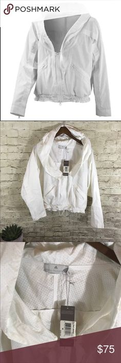 Adidas by Stella McCartney white perforated jacket NWT amazing cropped windbreaker jacket in white. Size M can also fit L. Hoodie. Large oversized  hood. Adidas by Stella McCartney Jackets & Coats Blazers