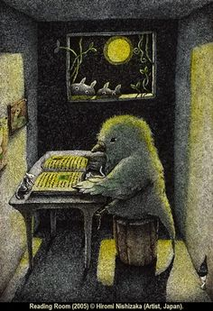 READING ROOM (2005) © HIROMI NISHIZAKA (Artist, Japan). Cute bird reading by moonlight with mouse while neighbors peek in the window :-) ... Pin from the Primary Source.