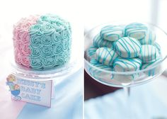 Pink And Blue Baby Shower Guest Dessert Feature | Amy Atlas Events