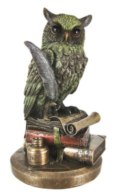 Amazon.com: Bronzed Finish Horned Owl on Books Statue Figurine: Home & Kitchen