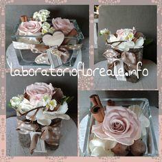composizioni bomboniere con rose stabilizzate