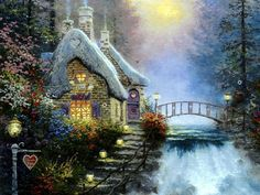romantic hideaways 07  - sunset, wayerfalls, bridge, painting, nature, winter, cottage, art, thomas kinkade