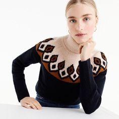 fair isle turtleneck sweater : women pullovers