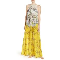 Women's Ted Baker London Passion Flower Cover-Up Dress ($195) ❤ liked on Polyvore featuring swimwear, cover-ups, yellow, cover up swimwear, cover up beachwear, beach cover up, swim cover up and yellow swimwear