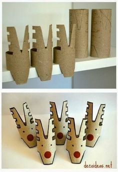 10 Christmas craft projects made out of toilet paper rolls in diy cardboard with Toilet Paper Roll DIY Craft Christmas Advent Christmas Craft Projects, Christmas Crafts For Kids, Christmas Activities, Kids Christmas, Holiday Crafts, Recycled Christmas Decorations, Christmas Stocking, Vintage Christmas, Christmas Ornaments