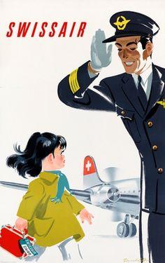 Swissair Pilot Cairo, 1949 - original vintage travel advertising poster by Donald Brun.
