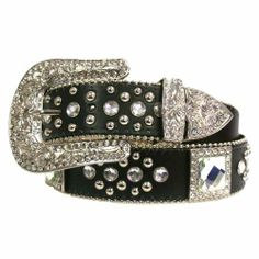 Black Big Square Rhinestone Studded Bling Belt Size Medium/Large Both the tip and the large buckle are also decorated heavily with crystal stones.. Small/Medium measures 41 inches long, end to end.. Medium/Large measures 46 inches long, end to end.. Large/X-Large measures 50 inches long, end to end.. B01766.  #Luxury_Divas #Apparel