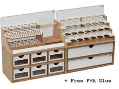 To connect the modules simply use the magnets that are included. The Hobbyzone Organizer Module Starter Set consists of 4 of the most popular units and a bottle of PVA. Craft Room Desk, Hobby Electronics Store, Art Studio Storage, Hobby Desk, Hobby Shops Near Me, Hobby Lobby Christmas, Leather Workshop, Modelista, Workshop Organization