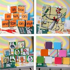 DIY Dr. Seuss Blocks... I believe you can purchase pre-cut wooden blocks at craft stores.