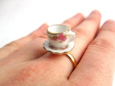 Limited edition ceramic tea cup ring with pink by YellowSherbet, £8.00