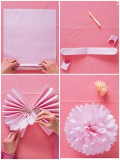 Martha Stewart tissue paper balls! Great for decorations..20-30 papers stacked.. Do a fan fold..cut the ends to give the rounds shape..wire the middle and fan out!