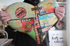 Metal patchwork heart wall pieces. A little bit industrial, a lot happy.