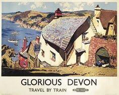 Vintage Glorious Devon British Railways Travel Poster Re-Print Posters Uk, Train Posters, Railway Posters, Music Posters, Retro Poster, Poster Ads, Advertising Poster, Devon England, England Map