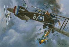 world war 1 biplane art | World War One Dogfight (Original) (Signed) art by Wilf Hardy Archive