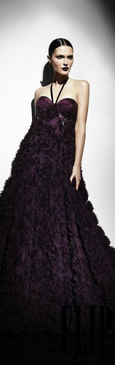 """Georges Hobeika """"Signature"""", Fall-winter - Ready-to-Wear Runway Fashion, High Fashion, Net Fashion, Purple Fashion, Shades Of Purple, Dark Purple, Designer Gowns, Violet, Beautiful Gowns"""