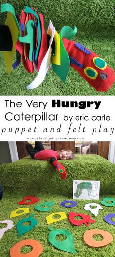 The Very Hungry Caterpillar puppet and felt play by Momcat's Signing Academy