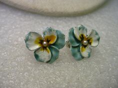 Vintage 1950's Enameled Pansy Clip Earrings Faux by stampshopgirl
