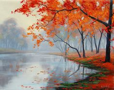 Fall oil painting lake paintings contemporary art impressionist landscape tree painting - Autumn oil painting lake painting contemporary by GerckenGallery - Lake Painting, Autumn Painting, Painting Prints, Watercolor Paintings, Painting Art, Art Prints, Watercolour, Painting Trees, Impressionist Landscape