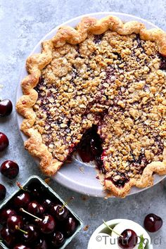 cherry crumble pie | cherry pie | cherry pie recipe