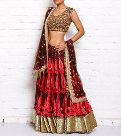 #Brown n #Red #Embroidered #Net #Lehenga #Set by #Varija #Designs at #Indianroots