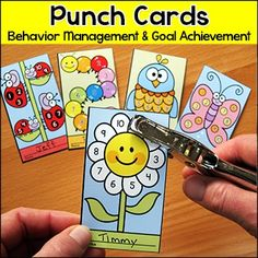 Punch Cards for Behavior Management and Goal Achievement: Motivate your students to achieve goals and good behavior with these fun and unique punch cards. Your students will love the cute characters and they will be excited to earn a punch on their card.