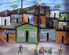 Dimentional Township art by Sithembele Mgadi - stall 3 Africa Mission Trip, African Paintings, South African Artists, Mosaic Patterns, Art Club, Art Google, Pergola, Canning, Wall Art
