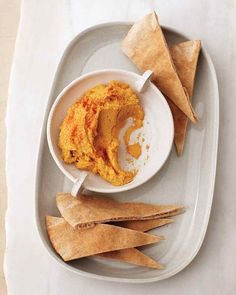 Sweet Potato Hummus - use 1 lb cooked sweet potatoes per 19.5-oz can of chick peas to a standard hummus recipe.